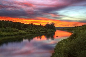 Inya river in Novosibirsk region during sunset