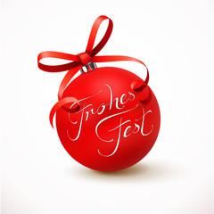 Rote Weihnachtskugel mit Schleife - Frohes Fest