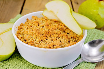 Crumble with pears on board