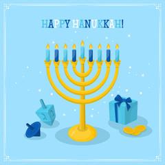 Jewish Holiday Hanukkah greeting card design