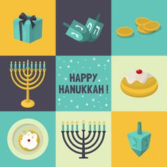 PrintJewish Holiday Hanukkah icons set. Vector illustration