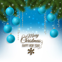 Christmas background with fir tree and baubles decorations