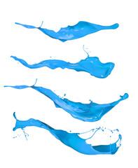 Blue splashes isolated on white background