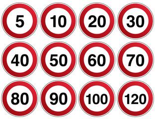 Verkehrszeichen Geschwindigkeit Vorlage