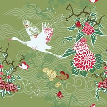 Bezszwowe tło z dźwigiem i ikebany