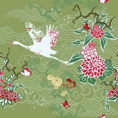 Seamless background with crane and ikebana