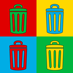 Pop art garbage symbol