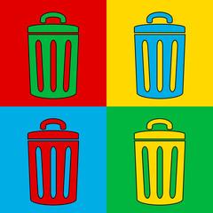 Pop art garbage symbol