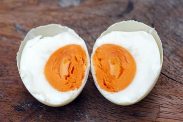 Salted egg on rice porridge