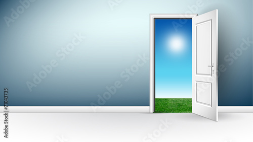 Porta Aperta Porta Bianca Stanza Panorama Immagini E