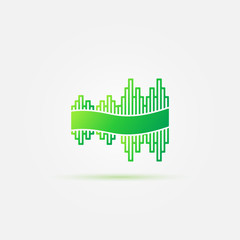 Bright green sound wave music icon