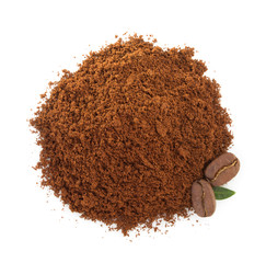coffee grounds on white