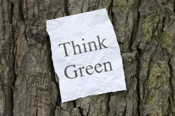 A message to Think Green posted on the bark of a tree