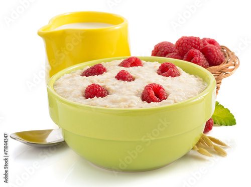bowl of oatmeal  on white - 71044347