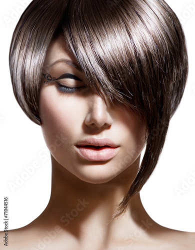 Leinwandbild Motiv Fashion Haircut. Hairstyle. Stylish Fringe