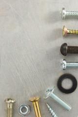 bolt, screws and nuts tool at metal