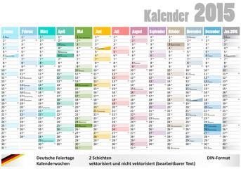 Kalender 2015 deutsche Feiertage Kalenderwochen DIN-Format