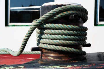 Marine cable on the deck of a ship