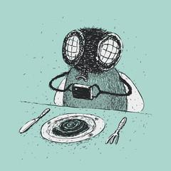 Cartoon photographing food