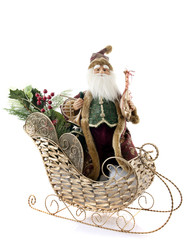 Old-Fashioned Santa in a Gold Sleigh