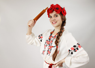 Ukrainian with a rolling pin