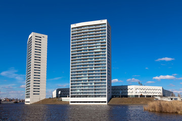 Tall Apartment Towers at the Water Front with Blue Sky