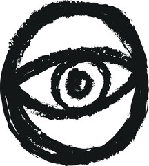 doodle eye, charcoal line art