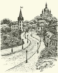 Vector cityscape. Church and Castle on Andrew Descent in Kiev