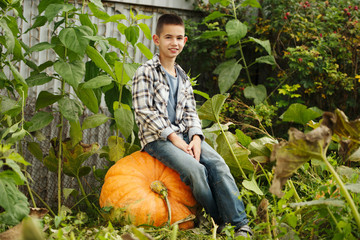 little funny boy with pumpkins