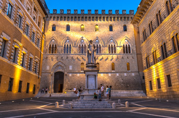Historic Square at Sunset in Siena, Italy