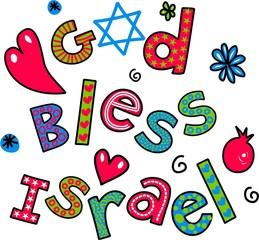 God Bless Israel Cartoon Doodle Text