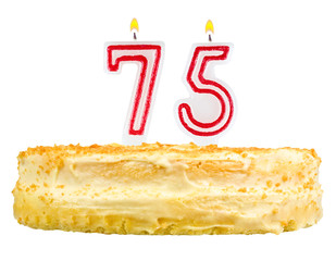 birthday cake with candles number seventy five isolated