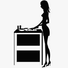 silhouette woman cooking dinner