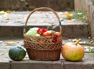 Корзина с овощами. Тыквы
