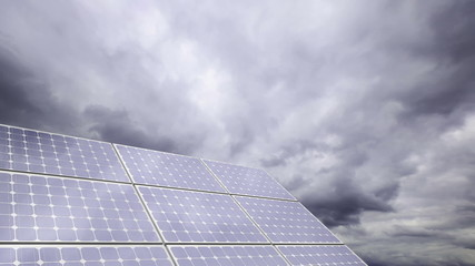 photovoltaic solar panels with panoramic sky; time lapse