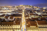 Lisbon, Portugal Skyline over Rua de Santa Justa