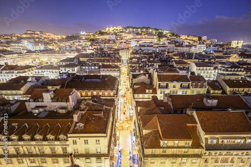 Lisbon, Portugal Skyline over Rua de Santa Justa Poster