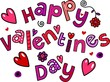 Happy Valentines Day Cartoon Doodle Text