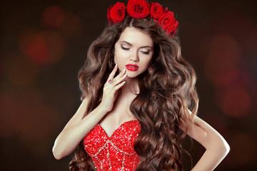 Long wavy Hair. Makeup. Beautiful Woman with chaplet of roses. B