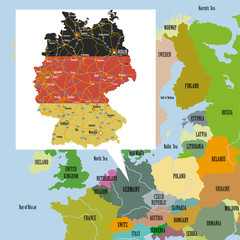 Original map of Europe and Germany.