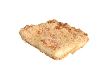 piece of shortbread cake isolated on white background