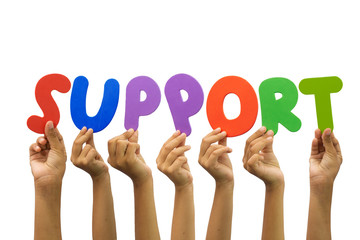 Multiple hands holding the word support