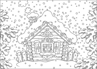 Small log hut in snow on Christmas