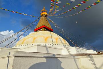 Buddhist shrine Boudhanath Stupa with Buddha wisdom eyes in Kath