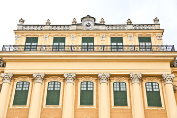 Close up of Schönbrunn Palace in Vienna, Austria