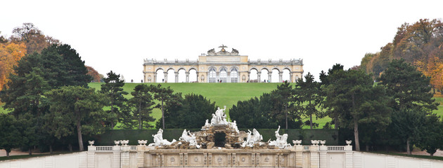 Gloriette and Neptune Fountain at Schönbrunn Palace in Vienna, A