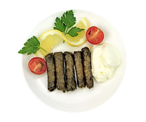 Turkish cuisine. Homemade Sarma - Rice wrapped in vine leaves