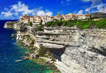 panorama of Bonifacio, old town at sea cliff, Corsica - France
