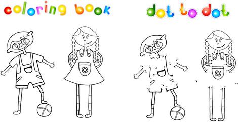 Boy and girl dot to dot