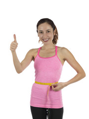 Happy fit woman weight loss thumb up